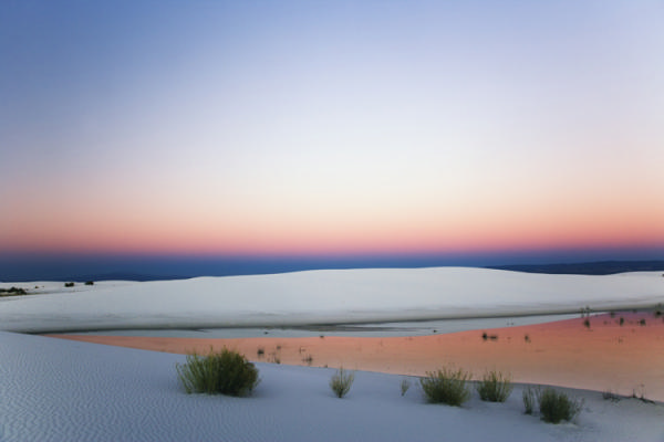 USA, New Mexico, White Sands National Monument, dunes and pool at dusk