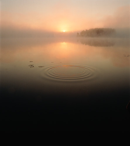 Sunrise reflecting off lake, Sweden