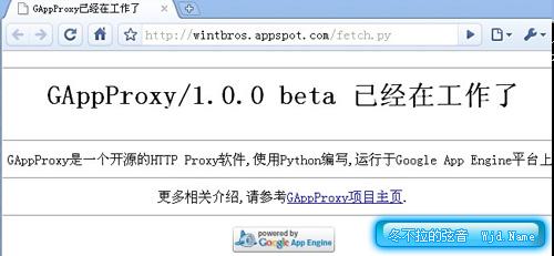 appspot测试成功界面截图